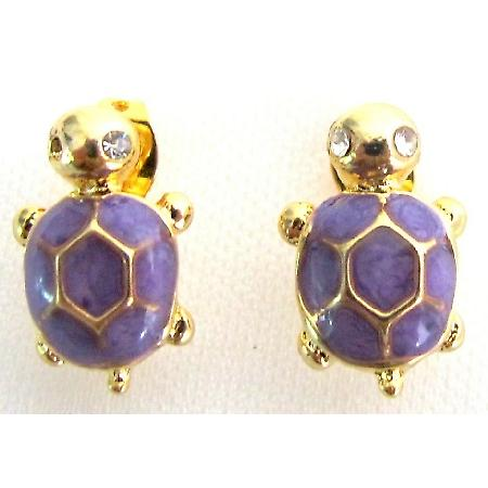 Stunning Very Cute Purple Turtle Earrings