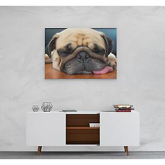 Large A1 A2 A3 Panel Panoramic Canvas Wall Art Painting of Pug Dog for your Living Room Canvas Prints - Pictures