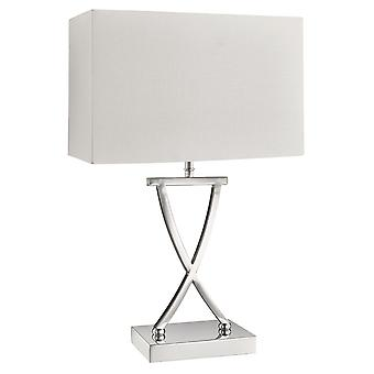 Chrome Table Lamp With White Shade - Searchlight 7923CC
