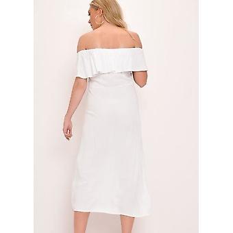 Altertümlichste Bardot Taste durch ein Line-Maxi-Kleid-weiß