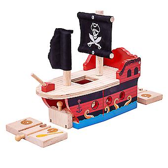 Bigjigs Rail pirata in legno Galeone Playset ferrovia pista treno accessori