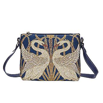 Walter crane - swan cross body bag by signare tapestry / xb02-art-wc-swan