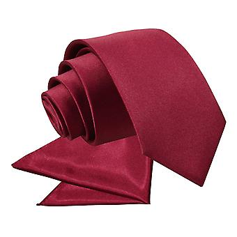 Burgundy Plain Satin Tie & Pocket Square Set for Boys