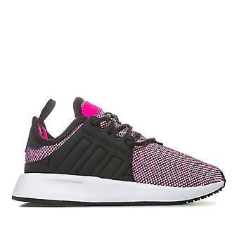 Enfants Filles adidas Originals X-Plr Trainers In Black Pink- Lace Fastening-