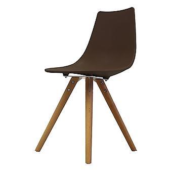Chaise de salle à manger en plastique iconique de café de fusion avec des jambes en bois clair
