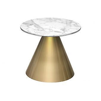 Gillmore Space Round Marmo Tavolo laterale con base in ottone conico
