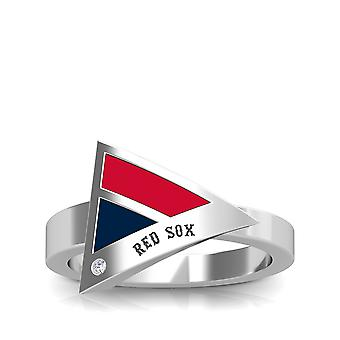 Boston Red Sox Red Sox Engraved Diamond Geometric Ring In Red And Dark Blue