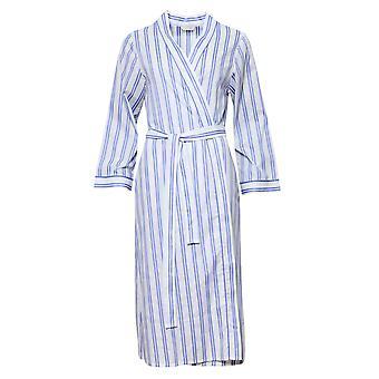 Cyberjammies 1321 Women's Nora Rose Thea Blue Mix Striped Cotton Long Robe