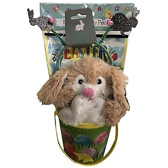 Easter Hunt Bundle With Bucket & Soft Cuddly Rabbit Toy