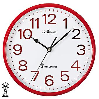 Atlanta 4378/1 wall clock radio radio controlled wall clock analog red white round