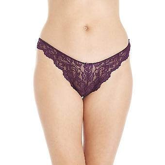 Camille Aubergine Sheer Lace Womens Thong