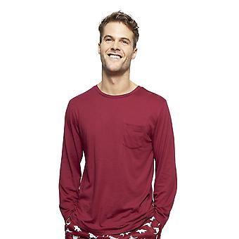 Cyberjammies 6411 Uomini's Joseph Burgundy Red Cotton Long Sleeve Top