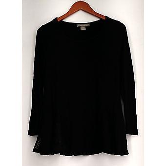 Kate et Mallory Long Sleeve Scoop Neckline Top w/ Lace Inset Black A423107