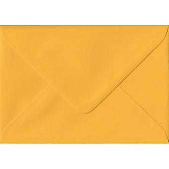 Golden Yellow Gummed Greeting Card Coloured Yellow Envelopes. 100gsm FSC Sustainable Paper. 125mm x 175mm. Banker Style Envelope.