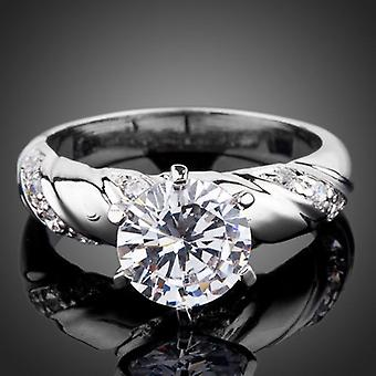 18K White Gold Plated 2 Carat Cubic Zirconia Ring