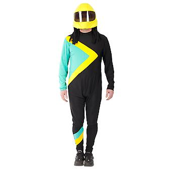 Mens Cool Runnings Jamaican Bobsleigh Jump Suit Helmet Sport Fancy Dress Costume
