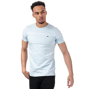 Mens Le Shark Mitre Striped T-Shirt In Blue- Short Sleeve- Ribbed Collar- Crew