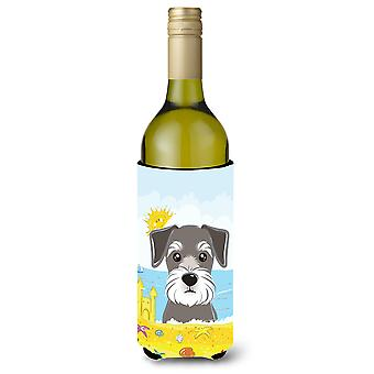 Schnauzer Summer Beach Wine Bottle Koozie Hugger BB2074LITERK