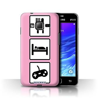 STUFF4 Case/Cover for Samsung Z1/Z130/Game/Gaming/Pink/Eat/Sleep