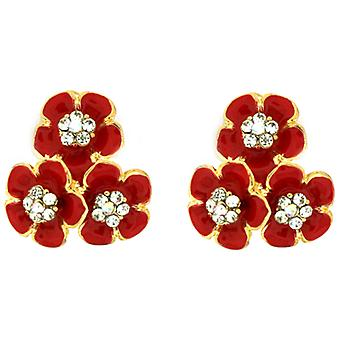Clip On Earrings Store Red Enamel & Crystal Triple Daisy Flower Clip On Earrings