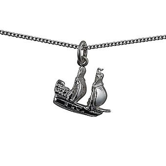 Silver 15x19mm man of war frigate Pendant with a curb Chain 24 inches