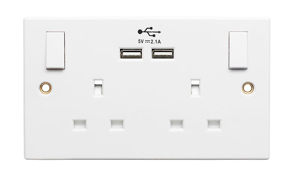 Double Switch Socket With Double USB Ports