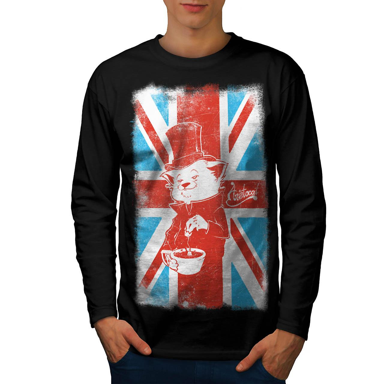 UK Cat Pet Aristocat British Tea Men Black Long Sleeve T-shirt | Wellcoda