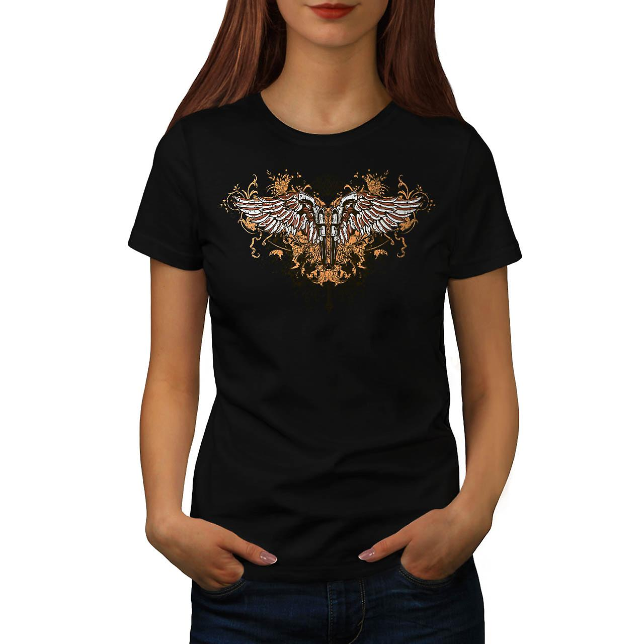 Pistola pistola Angel Wing Gang Land donna t-shirt nera | Wellcoda