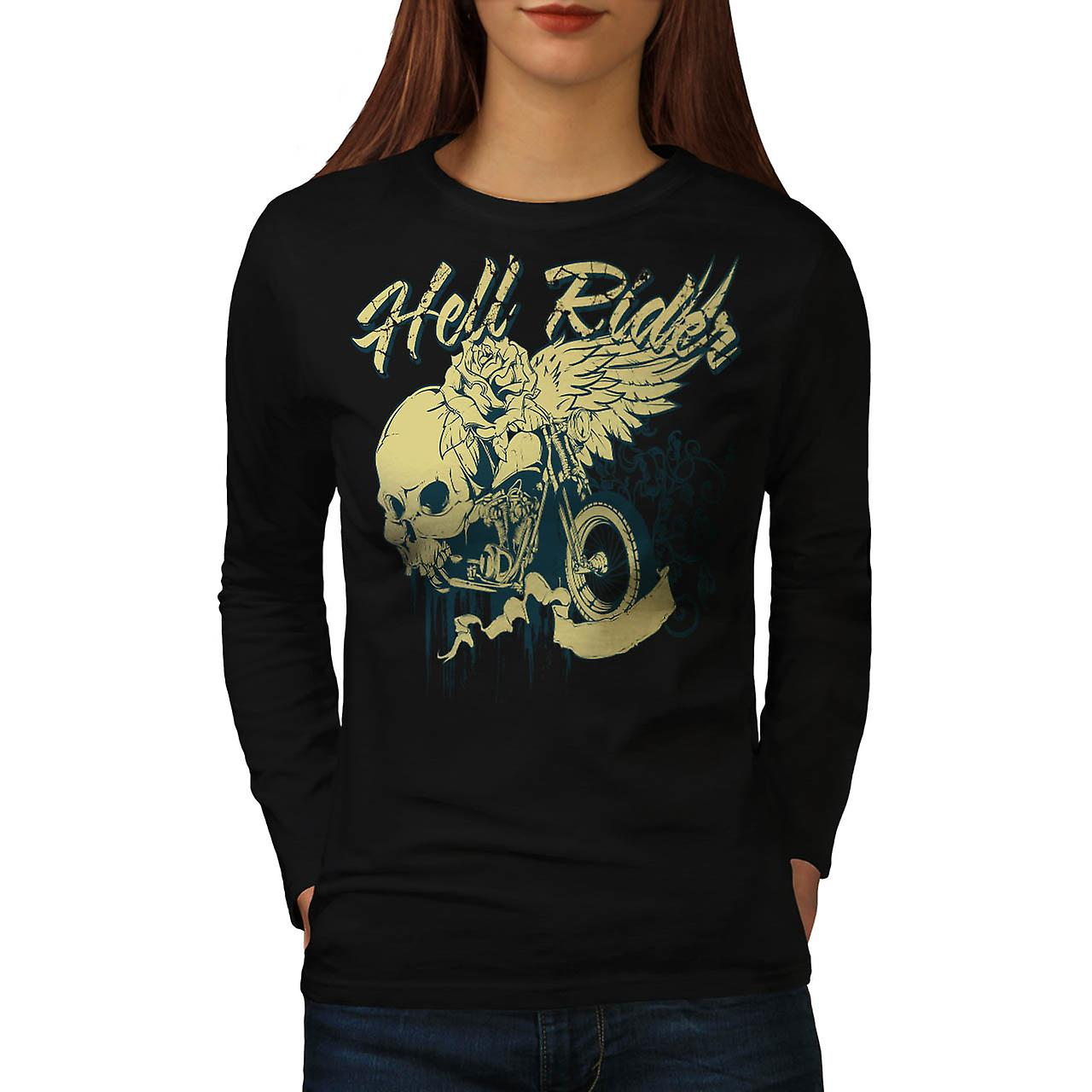 Hell Rider Biker Life Rose Skull Women Black Long Sleeve T-shirt | Wellcoda