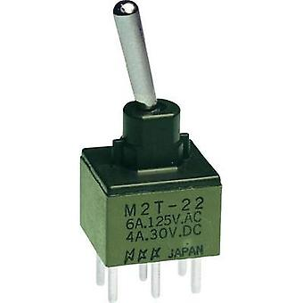 Toggle switch 250 Vac 3 A 2 x On/On NKK Switches M2T22SA5W03 latch 1 pc(s)