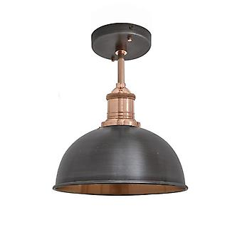 Brooklyn Vintage Small Metal Dome Flush Mount Light - Dark Pewter & Copper - 8