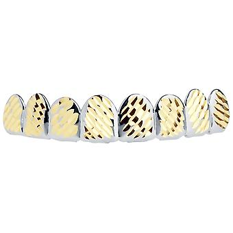 Silver Grillz - one size fits all - full size diamond cut IV.