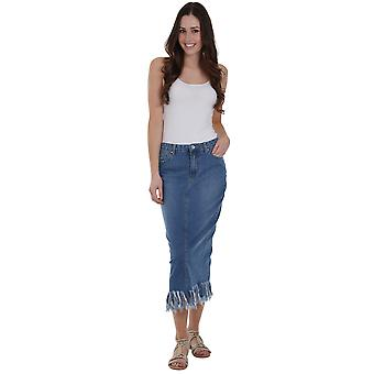 Mid-Length Denim Pencil Skirt with Fringe - Lightwash Deep fringe detail split