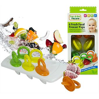 6 x Fresh Food Freezer Pops Baby Weaning Feeding Ice Pots Tray BPA Free