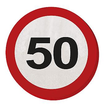 Napkin traffic sign number 50 20 St. sign birthday party