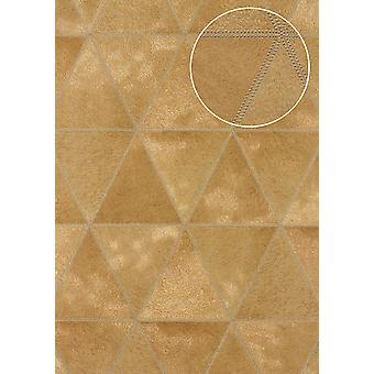 Embossed wallpaper Atlas SKI-5066-4 non-woven wallpaper characterized in coat patterns shimmering gold Ochre yellow olive brown Platinum 7,035 m2