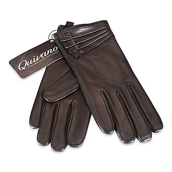 Quivano Ladies Leather Gloves Fleece Lined 4 Button Cuff Womens Real 316-200