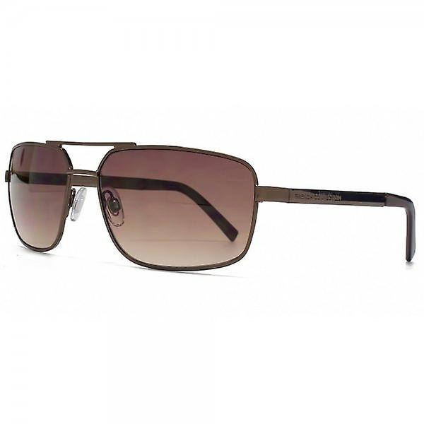 French Connection Classic Rectangle Sunglasses In Dark Brown