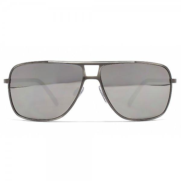 French Connection Square Metal Aviator Sunglasses In Brushed Gunmetal