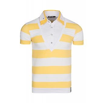 RUSTY NEAL stripes shirt men's short-sleeved yellow combined
