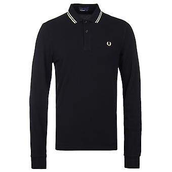 Fred Perry schwarz Langarm Twin Tipped Pique Polo-Shirt