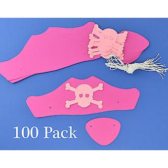 100 Pink Card Pirate Hats & Patches Kit for Girls Parties & Crafts