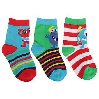 Baby Boys Stripe/Monster Socks (Pack Of 3)