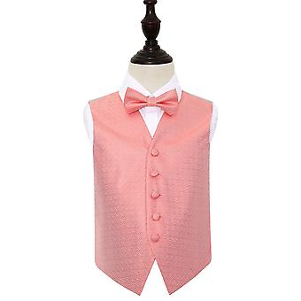 Boy's Coral Greek Key Wedding Waistcoat & Bow Tie Set