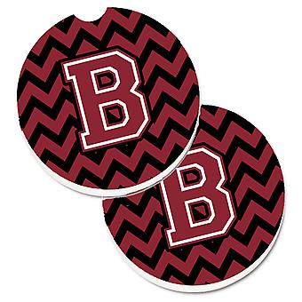 Letter B Chevron Garnet and Black  Set of 2 Cup Holder Car Coasters