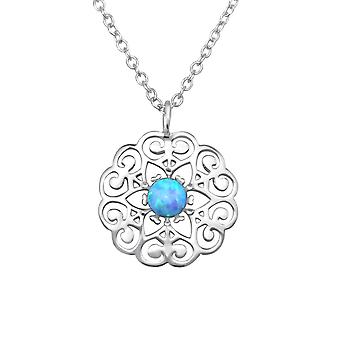 Flower - 925 Sterling Silver Jewelled Necklaces - W31397X