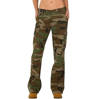 Wide Leg Camouflage Cargo Pants - Green & Brown