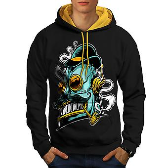 Robot Smoking Geek Men Black (Gold Hood)Contrast Hoodie | Wellcoda