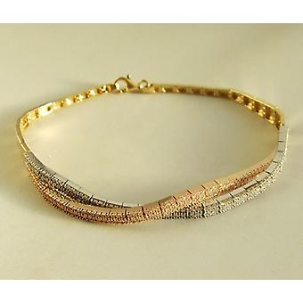 14 k Yellow, white and pink gold bracelet with cubic zirconia