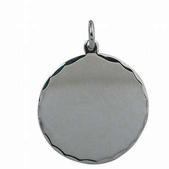 Silver 26mm round diamond cut edge Disc